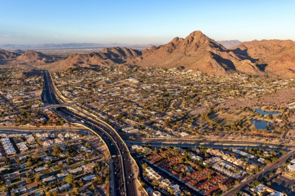 Phoenix from above at dusk, cost of living in Phoenix Arizona