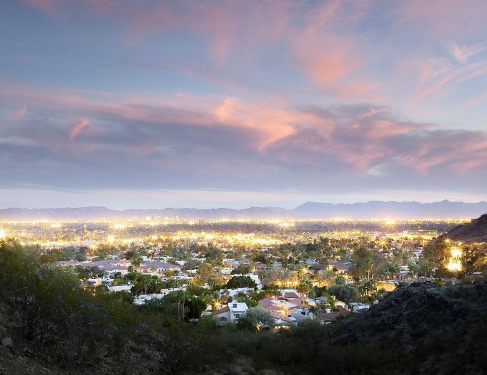 aerial at dusk of North Central Phoenix Arizona