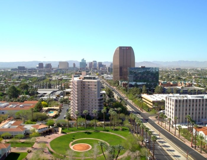 aerial of downtown North Central Phoenix Arizona
