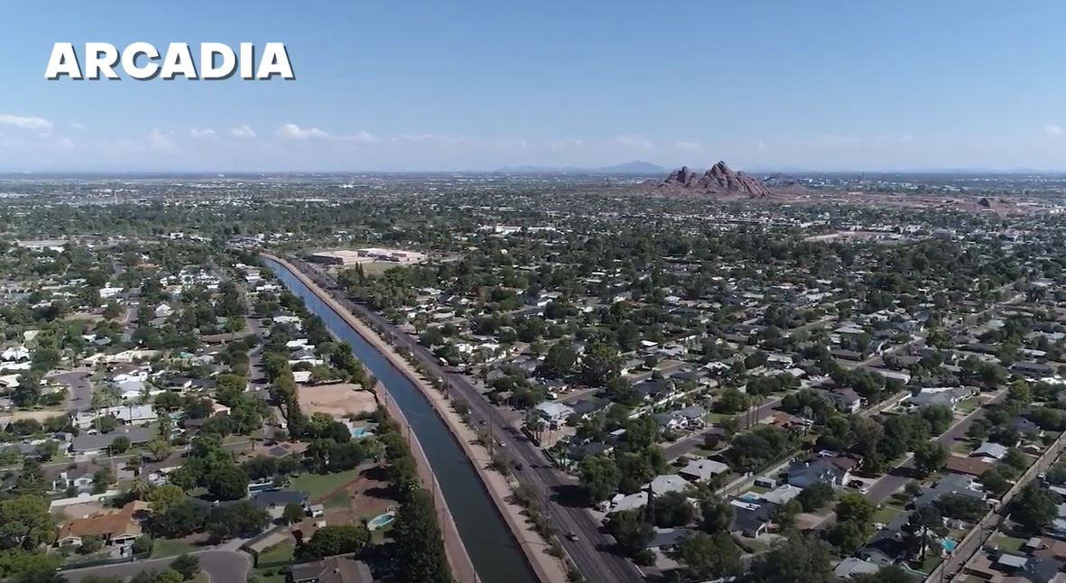 aerial photo Arcadia neighborhood of Phoenix