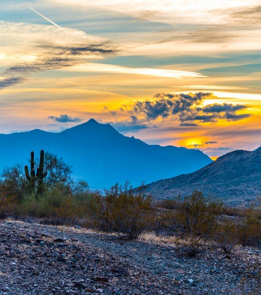 Estrella Regional Mountain Park at sunset, Living in Goodyear Arizona