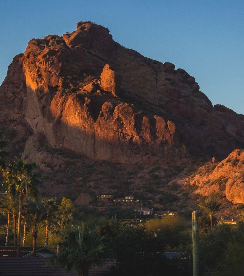 Camelback Mountain with luxury homes at dusk, Paradise Valley Arizona