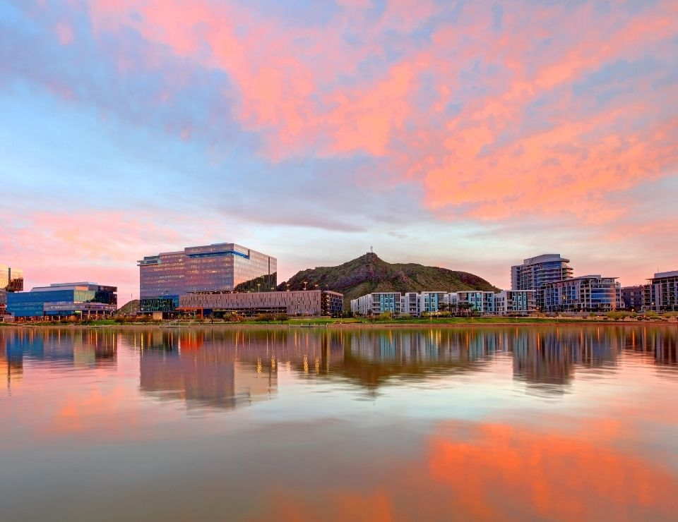 Tempe Arizona with a colorful sunset, Best School Districts in Phoenix Arizona