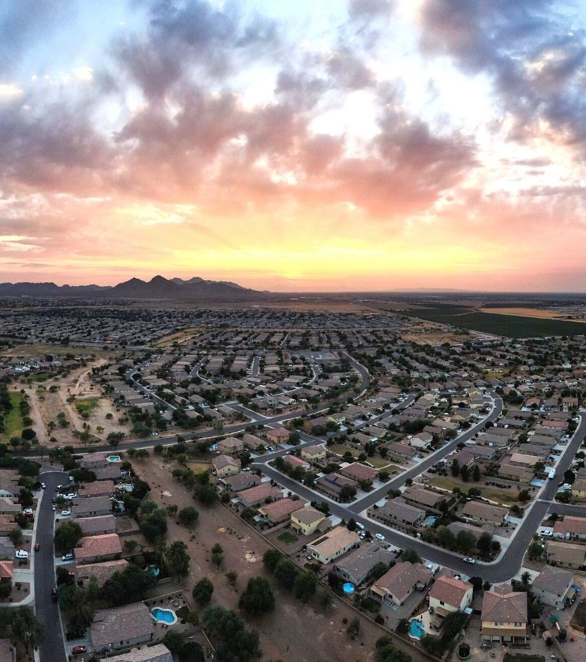aerial view of a neighborhood in Queen Creek Arizona at sunset