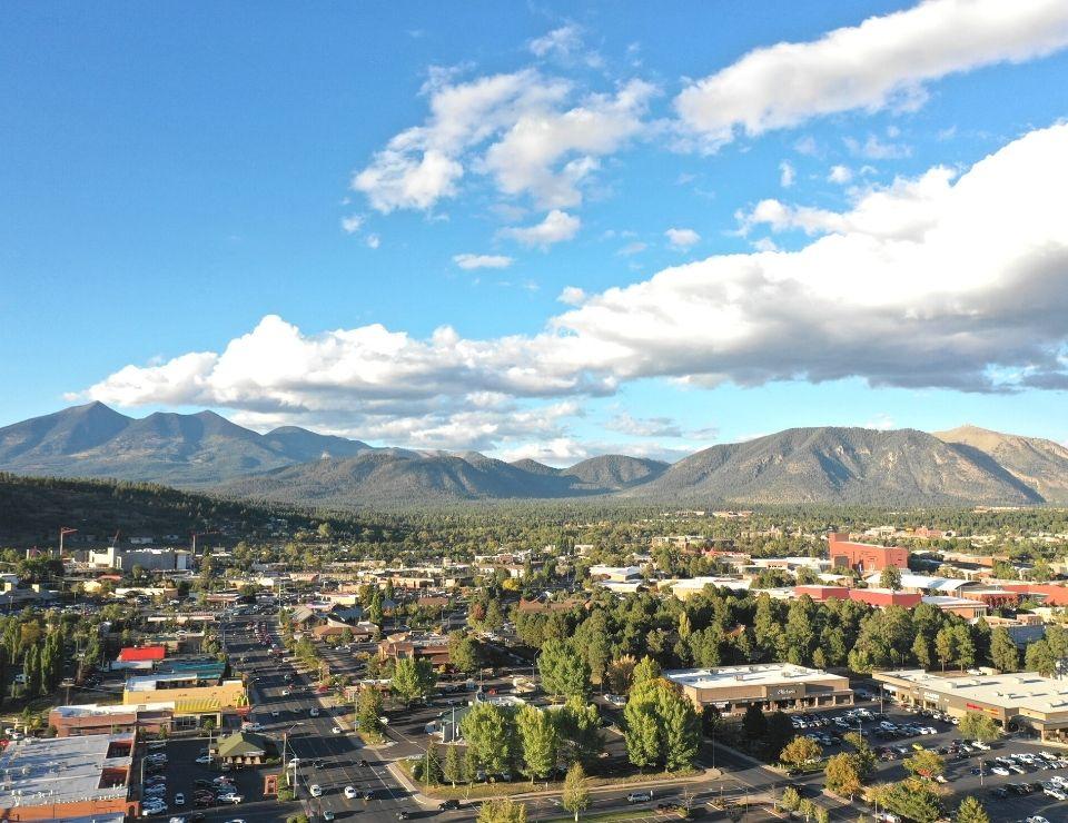 aerial view of downtown Flagstaff AZ, Flagstaff vs Show Low Arizona