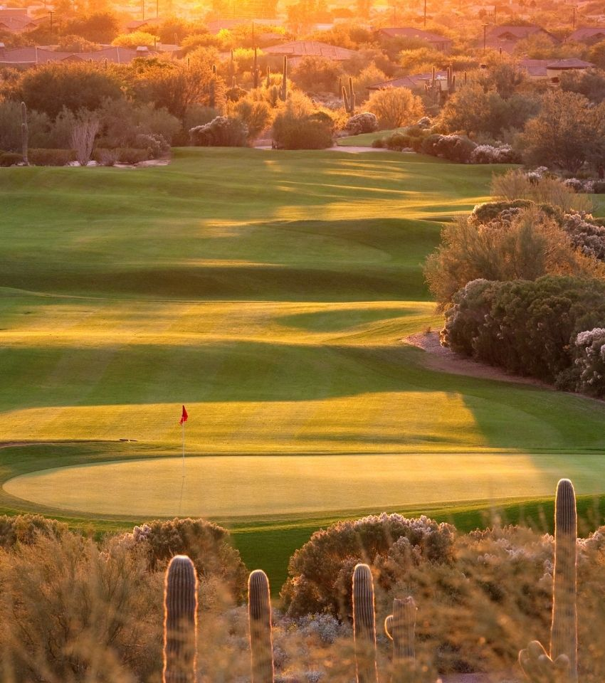 view of a golf course at dusk, Anthem Arizona