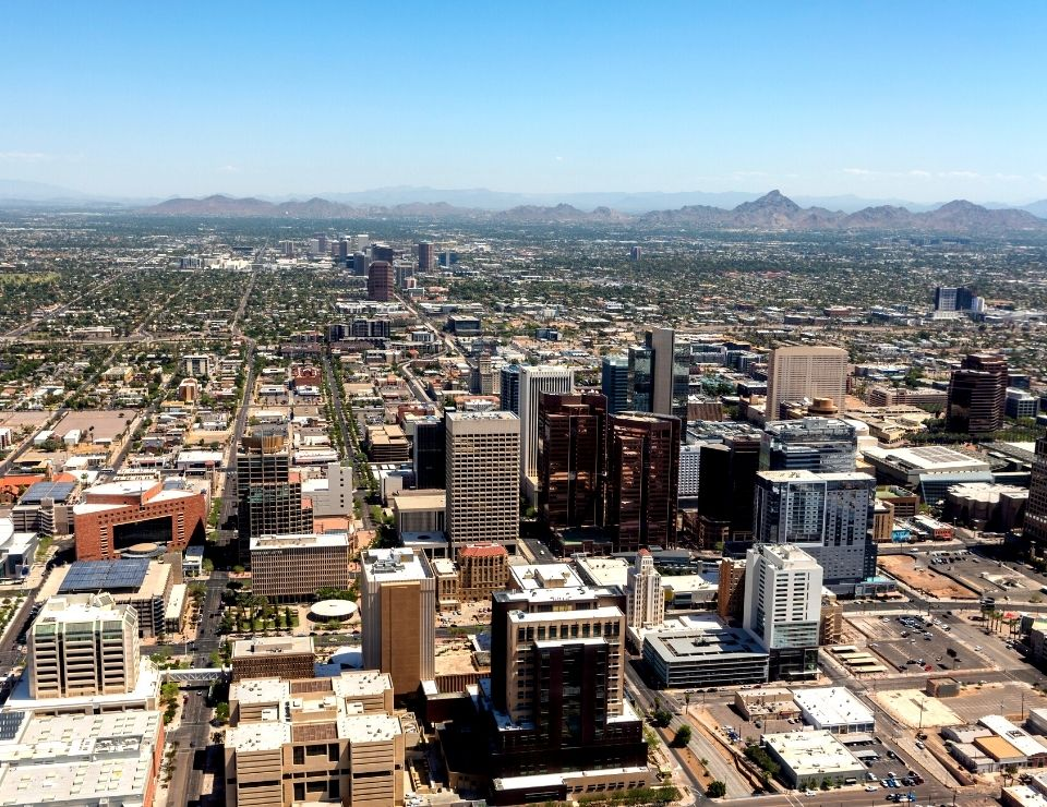 aerial view of downtown Phoenix Arizona, Worst Neighborhoods to live in Phoenix, Arizona
