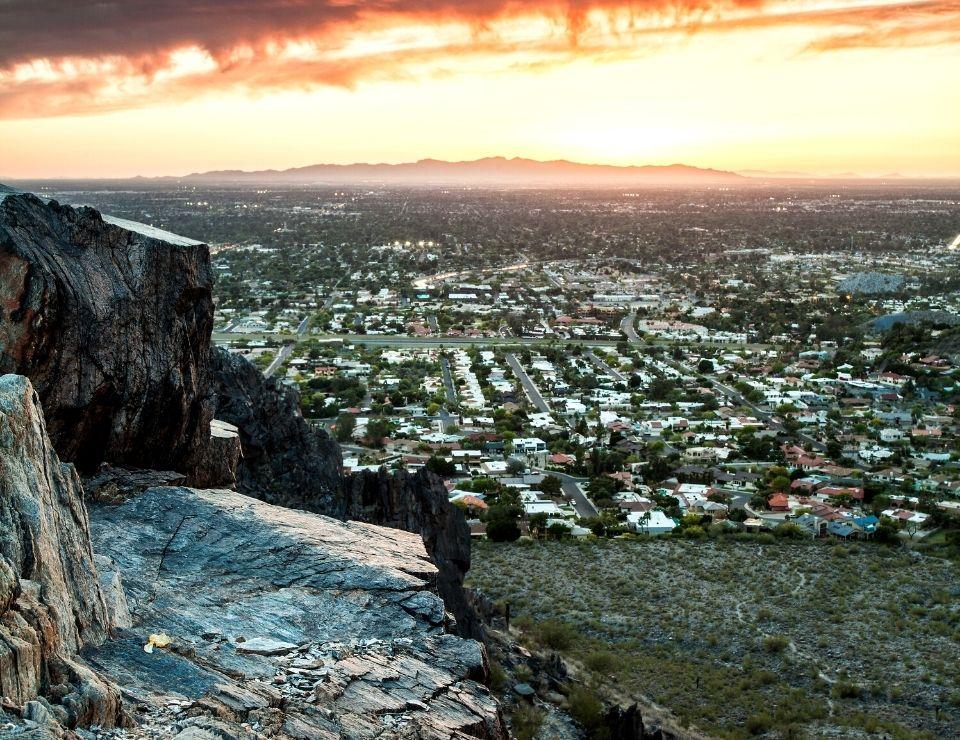 view of a phoenix neighborhood from a moutanin at sunset, Worst Neighborhoods to live in Phoenix, Arizona