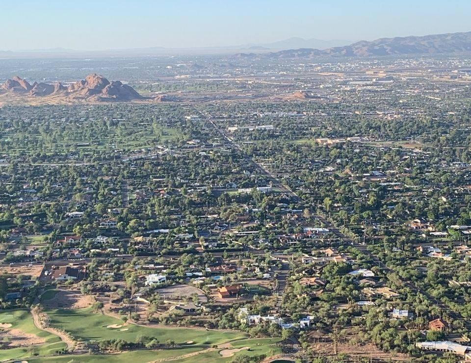 aerial view of Scottsdale Arizona, Where to live in Scottsdale, Arizona 5 Areas in Scottsdale to live in