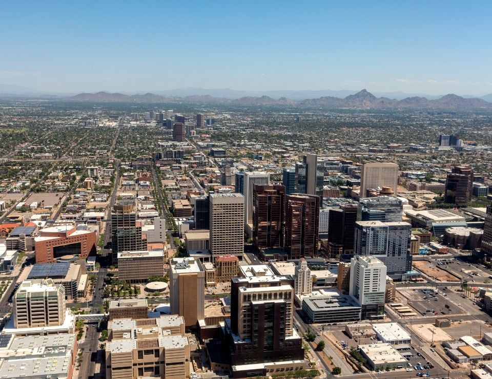 aerial view of downtown Phoenix Arizona, Myths of living in Phoenix
