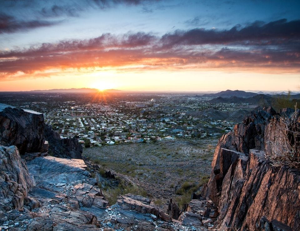 view of Phoenix Arizona from a hike at sunrise, Myths of living in Phoenix