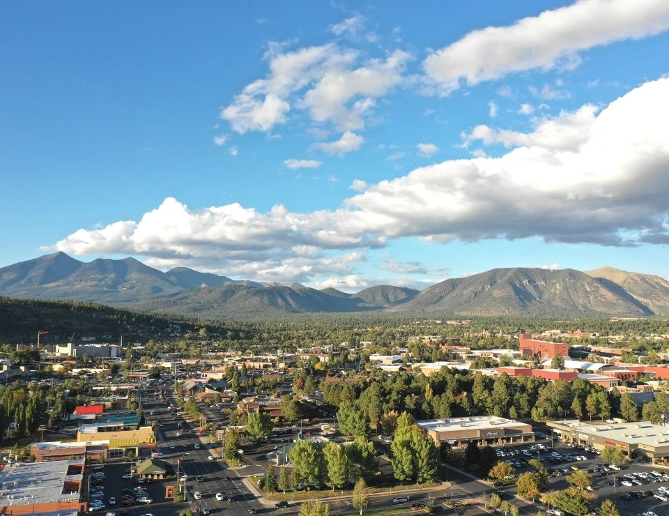 aerial of downtown Flagstaff Arizona, Challenges when buying a home in Flagstaff, Az