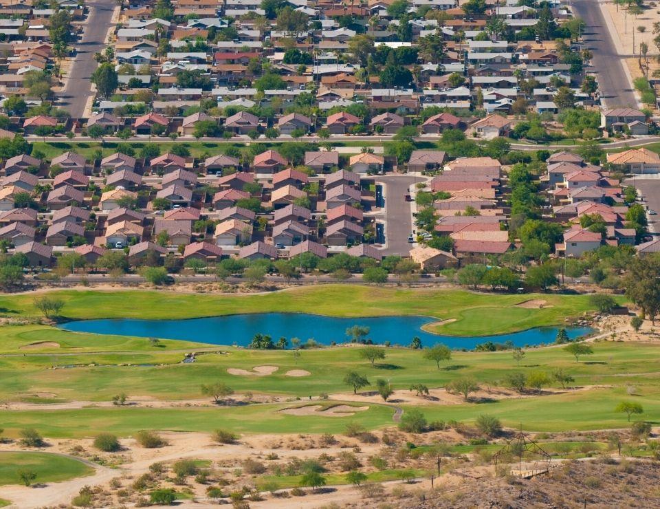 view of golf course and a Phoenix neighborhood, 5 Reasons to Move to Ahwatukee Arizona (4)