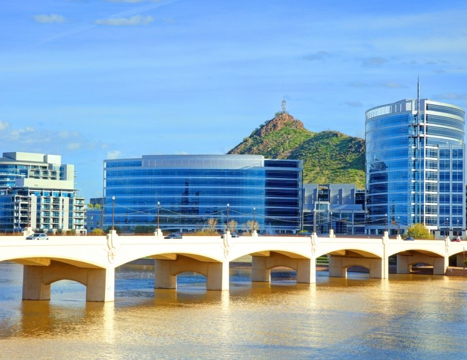 Tempe from the bridge, where to live in Phoenix