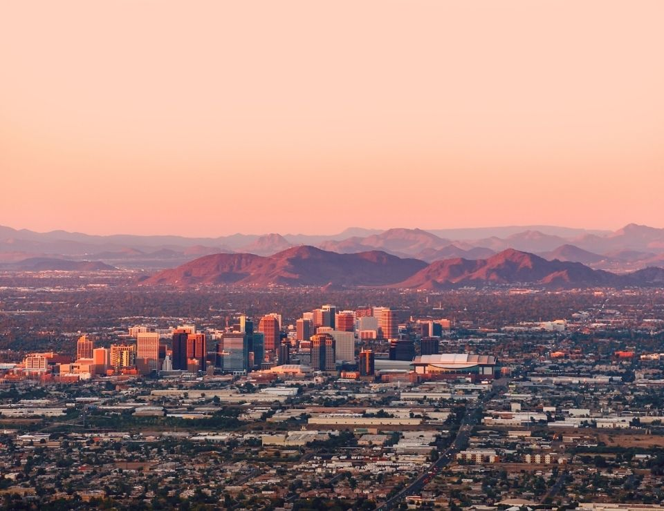 sunset view of Downtown Phoenix, where to live in Phoenix